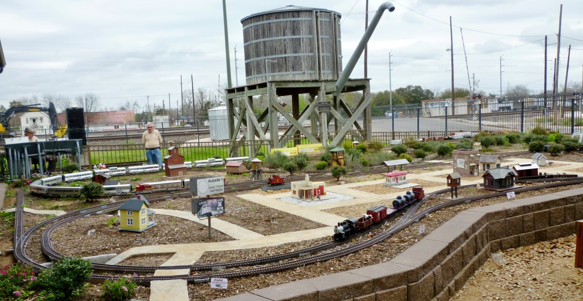 Outdoor G-Scale model train display at the Rosenberg Railroad Museum