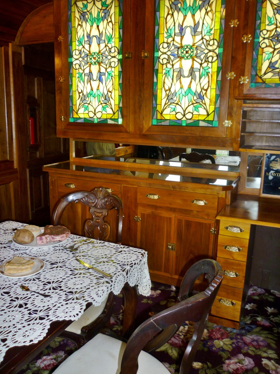 Dining interior of 'Quebec' Rail Car