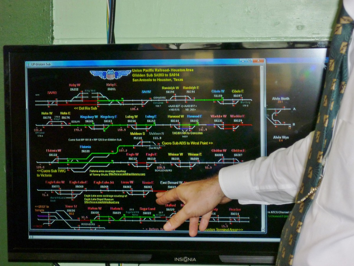 This Advanced Train Control System inside Tower 17 monitors real-time movements of trains.