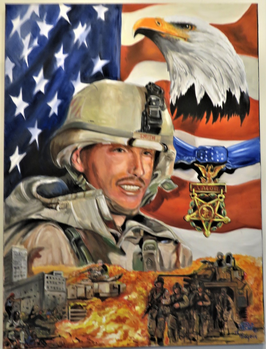 Painted by Ken Pridgeon Sr.: Medal of Honor awarded posthumously to SFC Paul Smith from El Paso, TX. He served in Operation Iraqi Freedom and was KIA on 04-04-03.