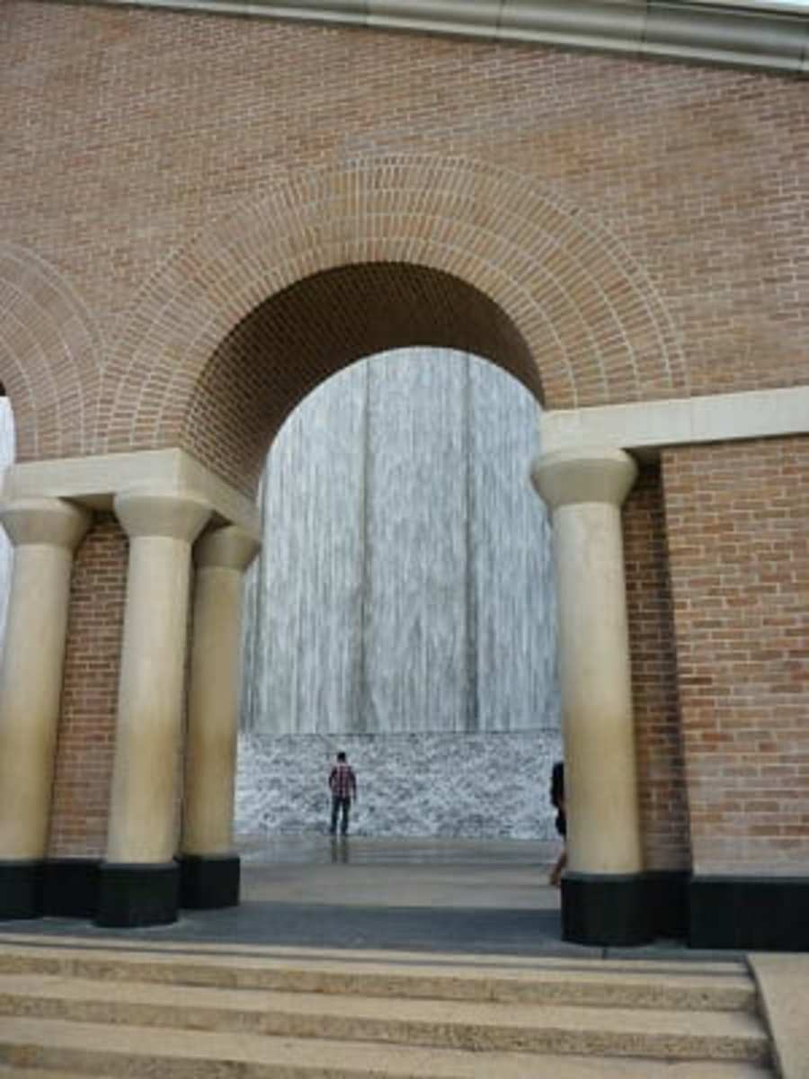 View of cascading water through one of the arches