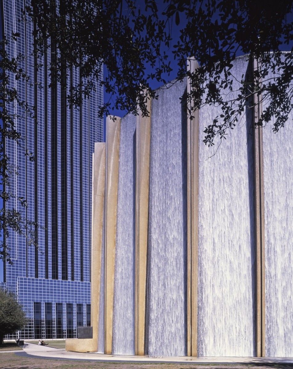 Partial view of the Williams Water Wall and the Williams Tower