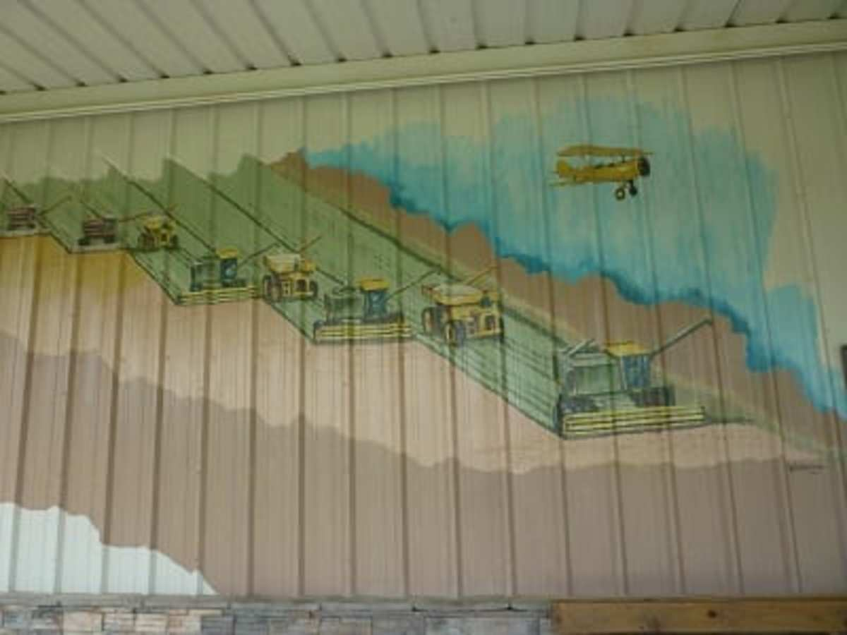 Farming equipment and biplane painted on front of the museum.