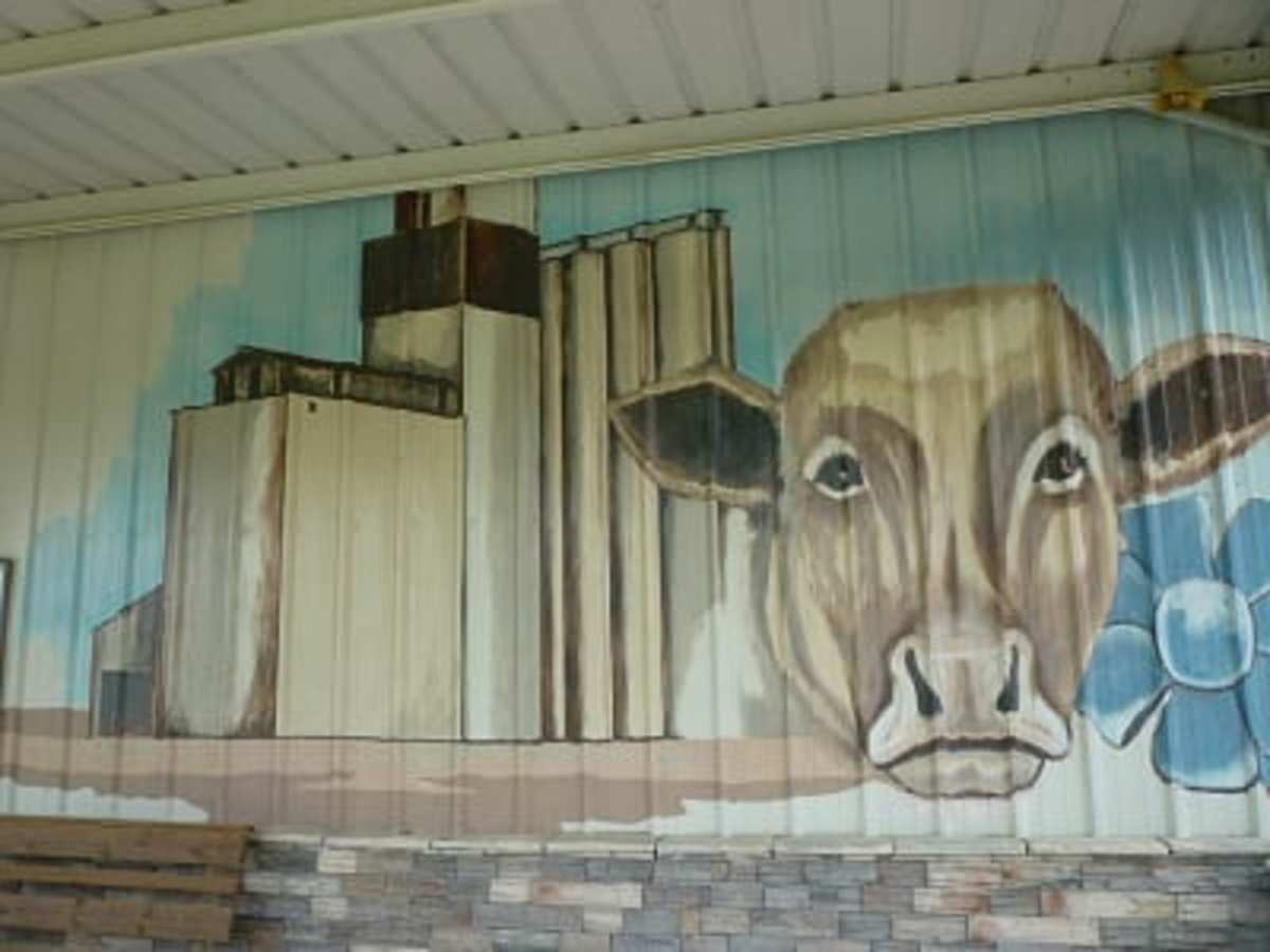 Cow and rice dryer painted on the front of the museum