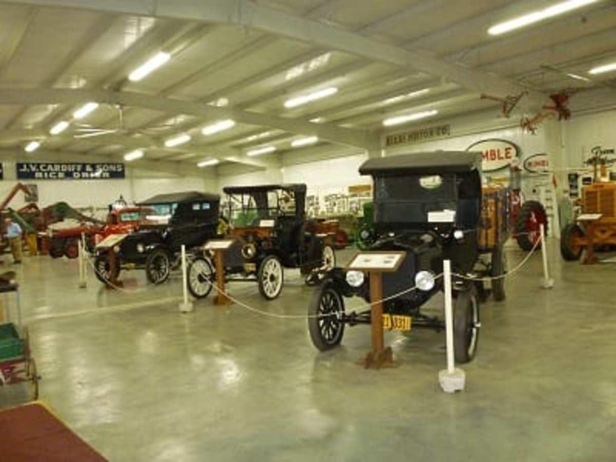 Old antique cars & trucks in museum