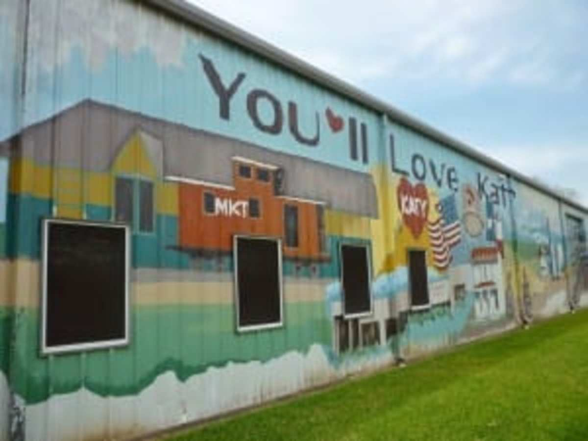 Painted on one side of the Katy Heritage Museum.