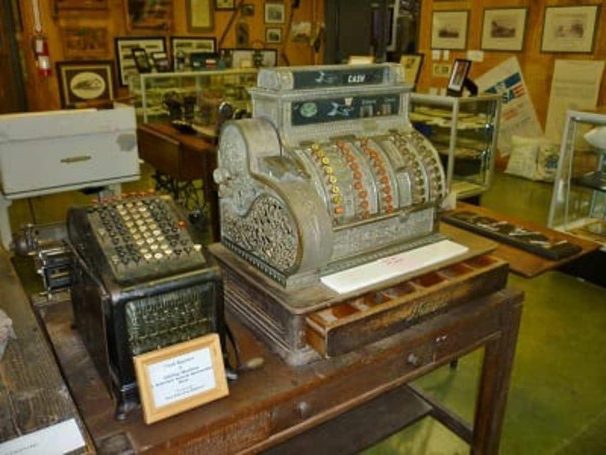 Old cash register & other artifacts