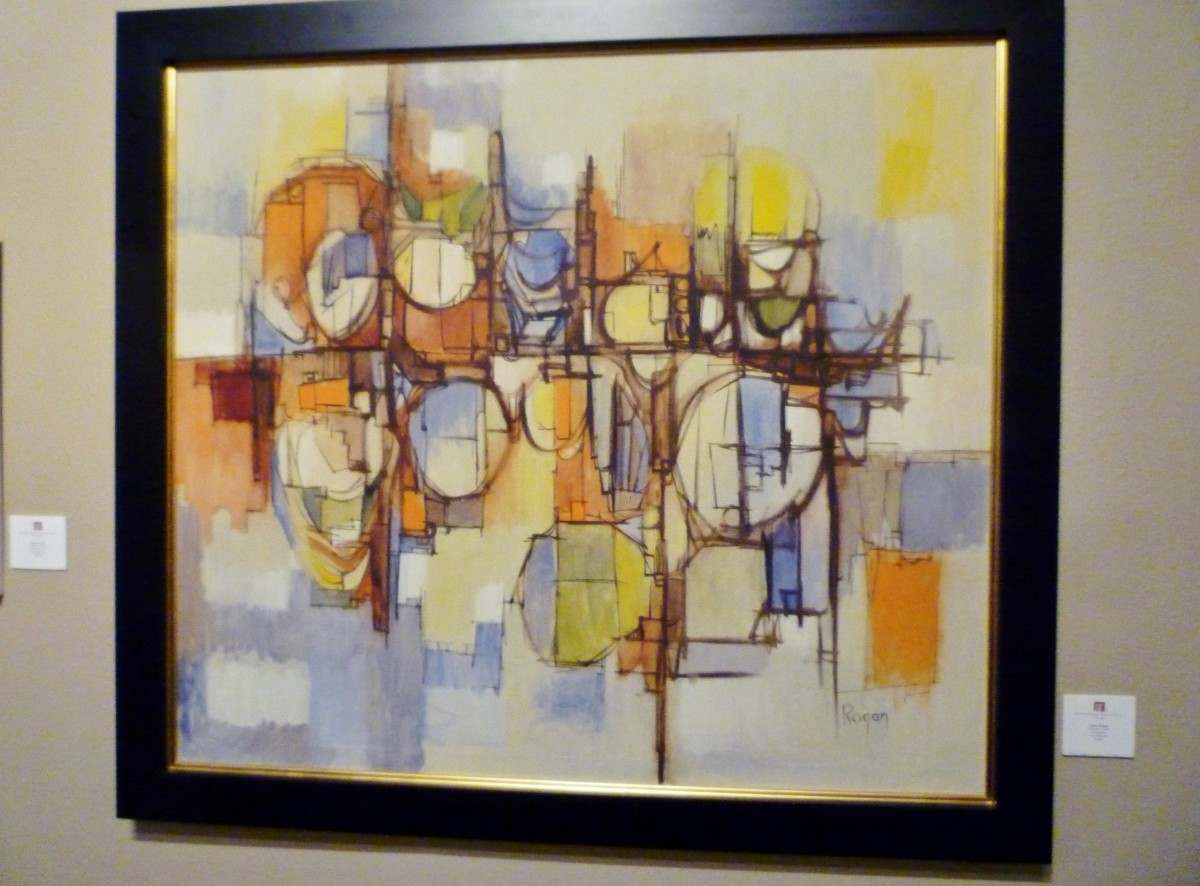 Artist Robert Rogan, oil on canvas titled Refinery, c. 1960, 44X50 inches