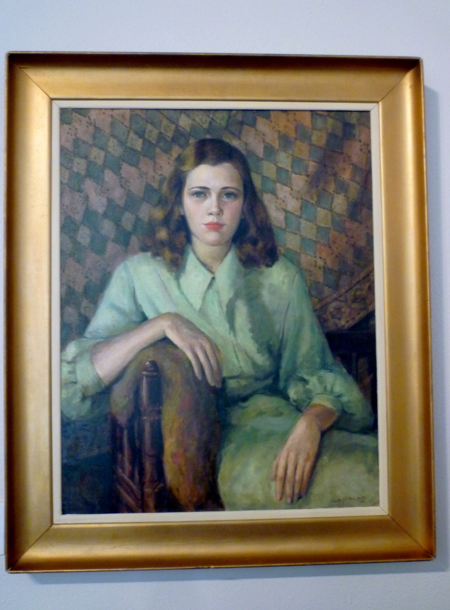 Artist Emily Guthrie Smith (1909-1986), Oil on canvas titled Portrait of a Young Girl, 1948 (28 X 22 inches)