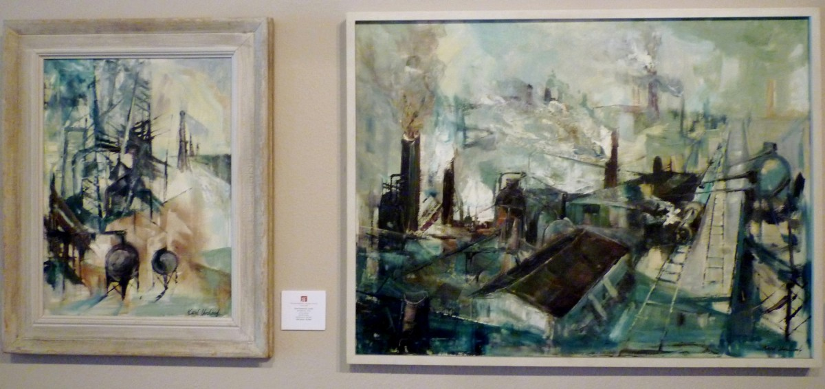 Artist Karl Umlauf (b. 1939) Oil paintings titled Oil Refinery, 1959 & Industry, 1959