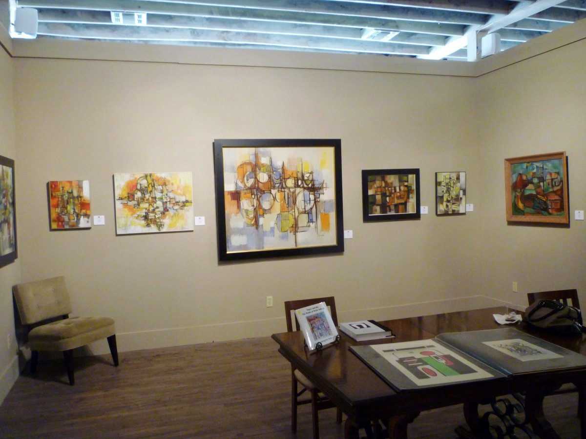 Central room in the art gallery displaying the work of Dr. Robert Rogan