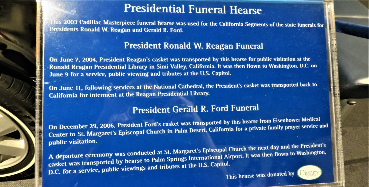 Information next to the Presidential Funeral Hearse