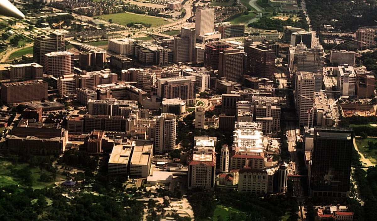 Aerial view of Texas Medical Center