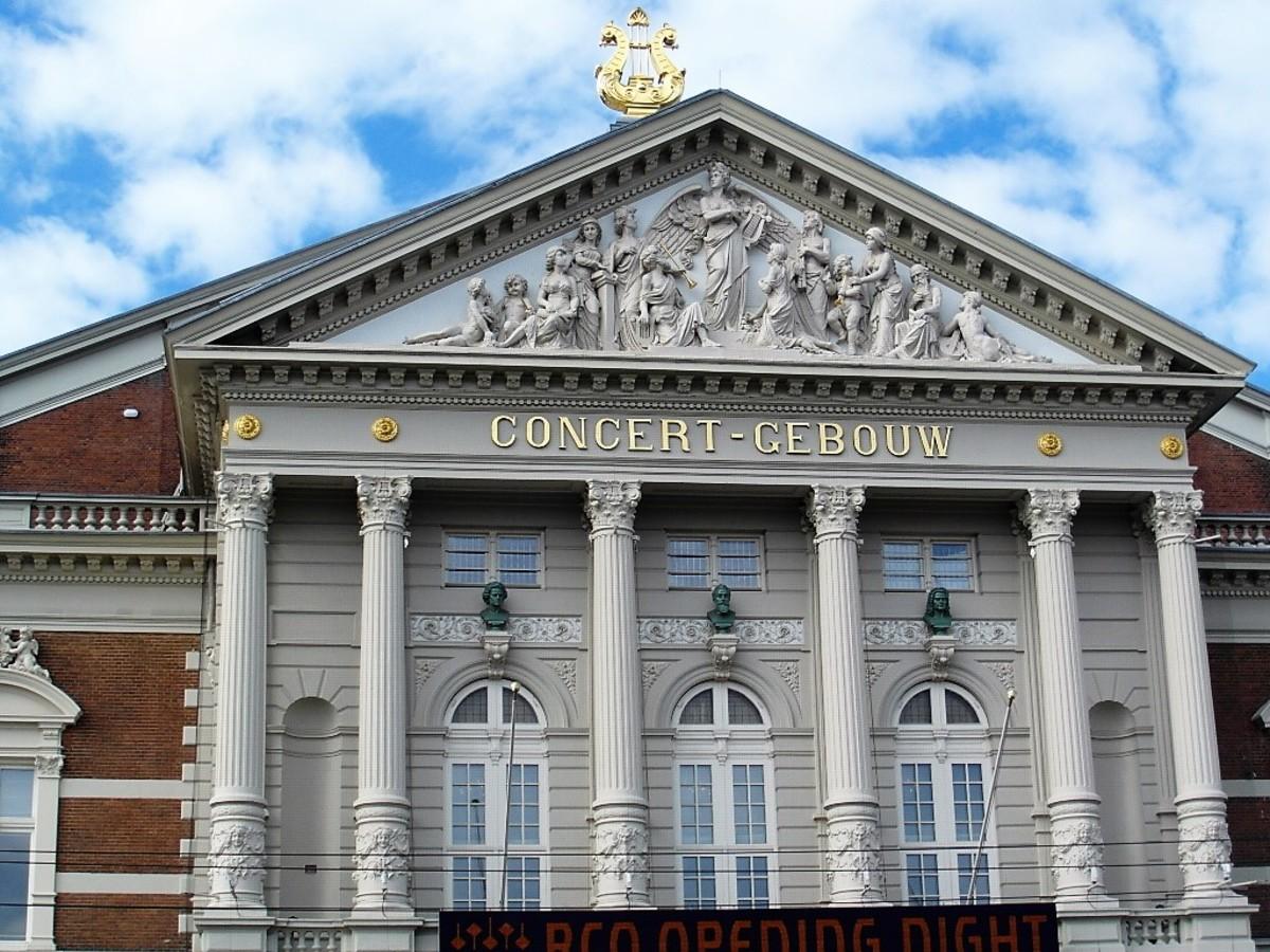 Ornate facade of the Concertgebouw, Amsterdam.