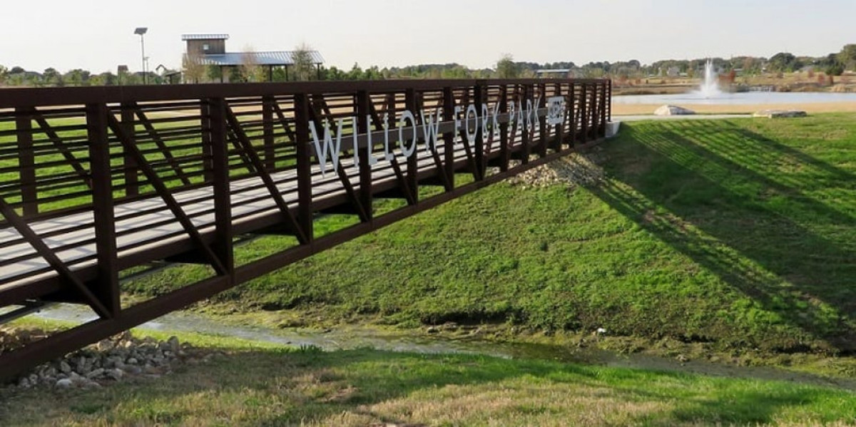 Pedestrian Bridge from the parking lot into Willow Fork Park