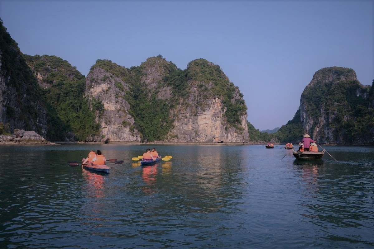 The kayaks and bamboo boats at Ha Long Bay.