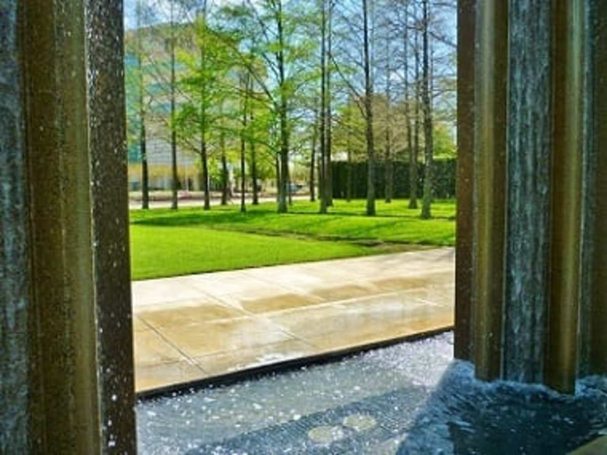 View through waterfall columns in Wortham Park