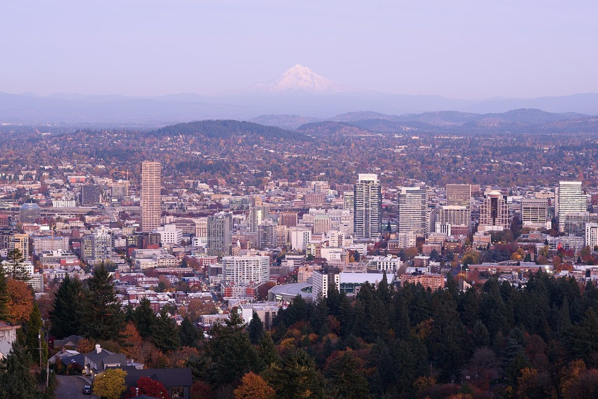 Skyline of Portland, Oregon, from the mansion viewpoint at dusk.
