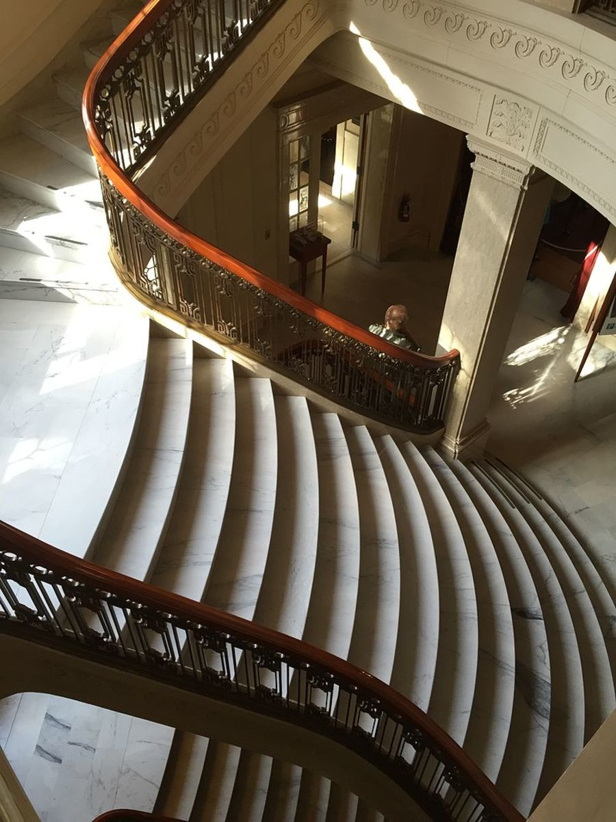 Elaborate staircase inside of the Pittock Mansion