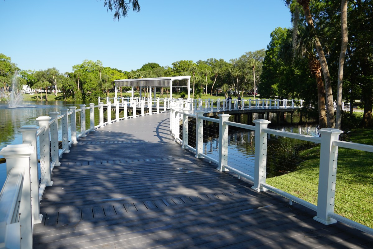 One of the boardwalks on Orange Lake in Sims Park