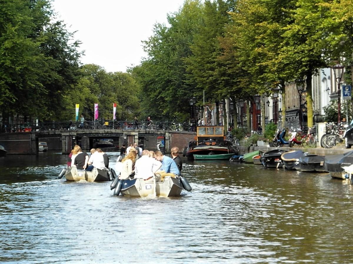 Busy waterways in Amsterdam.
