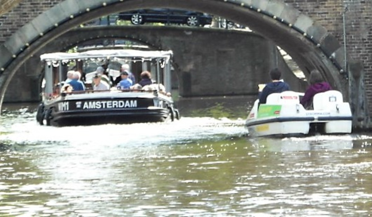 Taking the pedalo tour of Amsterdam.