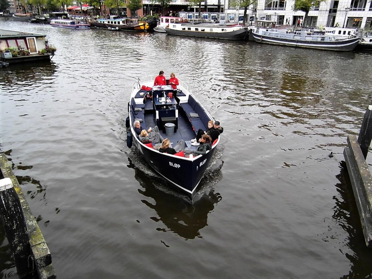 Open boat trip in Amsterdam.