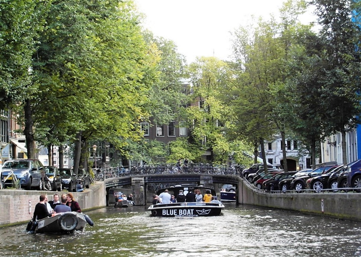 Busy canals in Amsterdam.