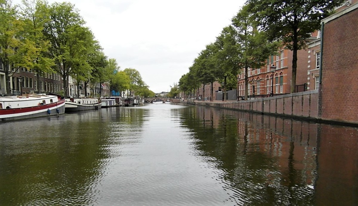 A quiet canal in Amsterdam.