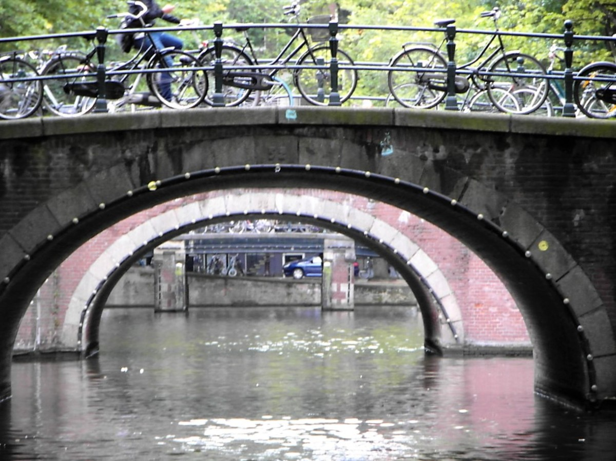 Amsterdam bridges from the water.