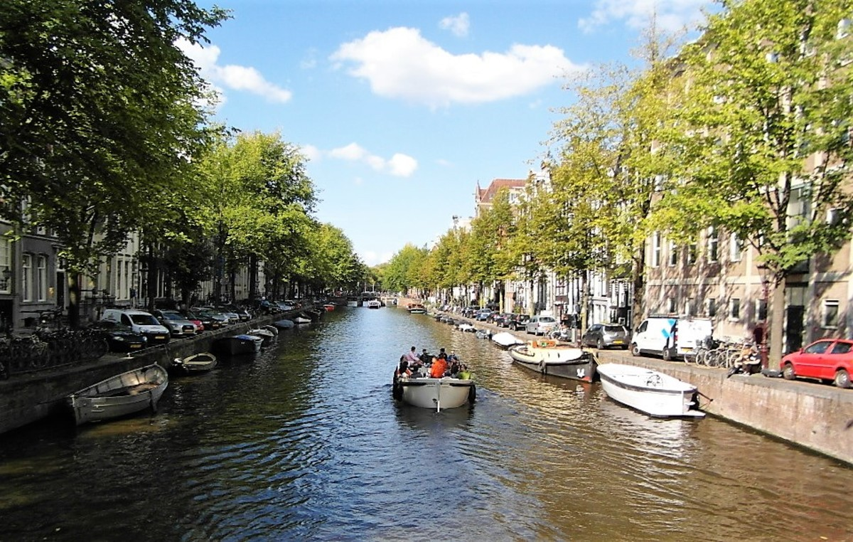 Open boat on a sunny day in Amsterdam.