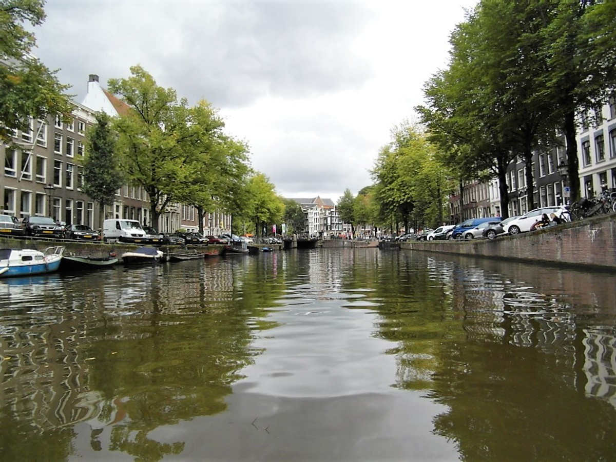 Canal view of Amsterdam.