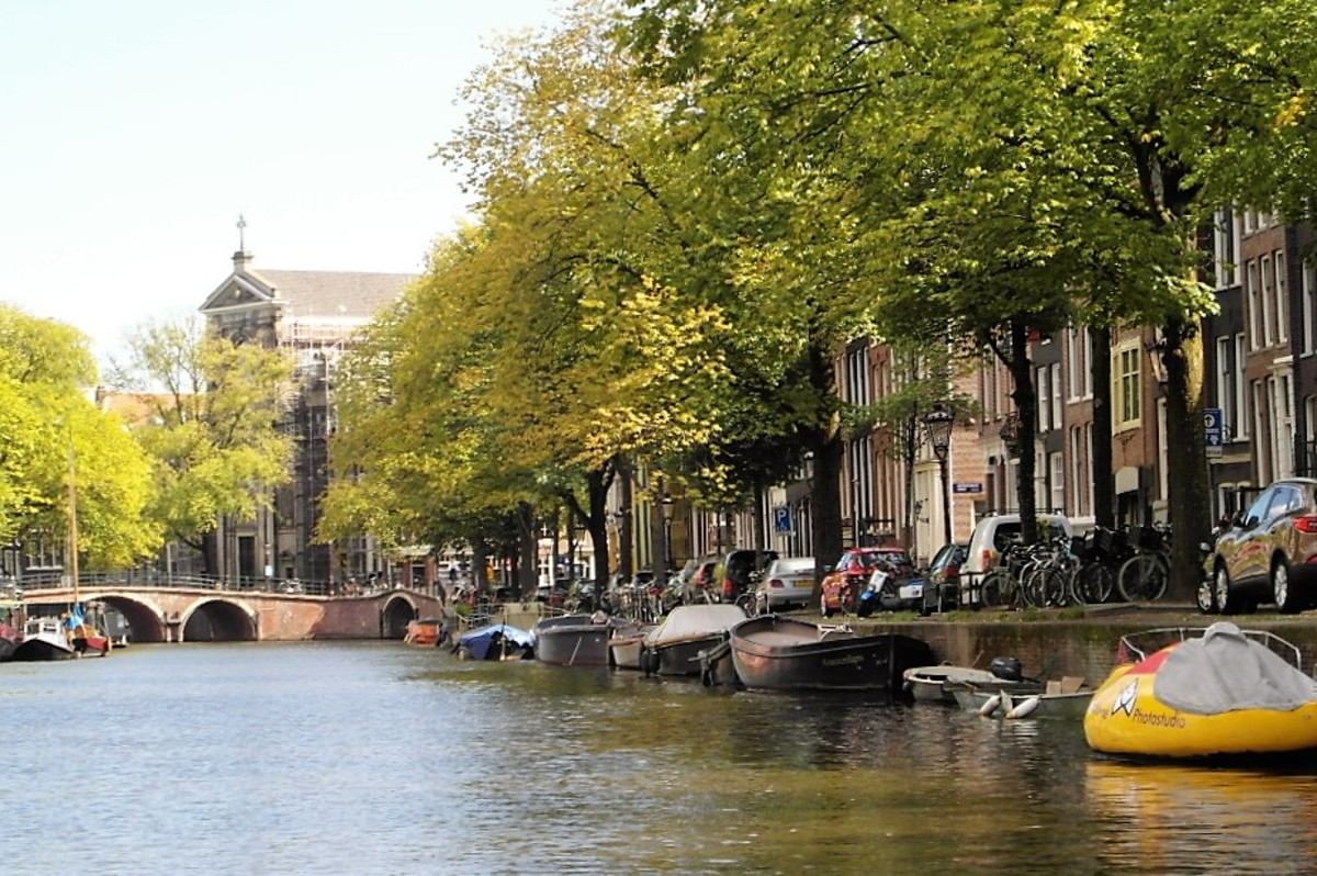 Canal bank in Amsterdam.