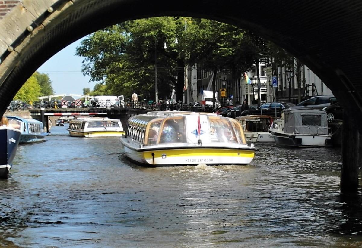 Busy waterway, Amsterdam.