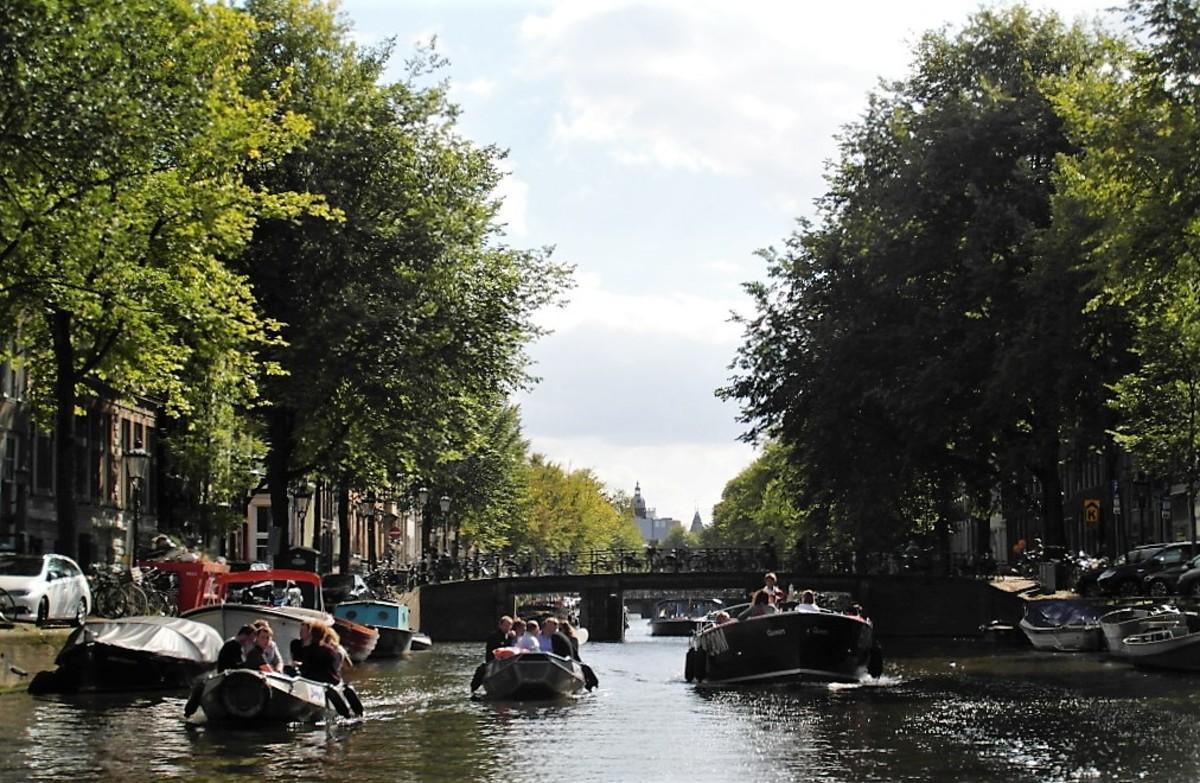 Small boats in Amsterdam.