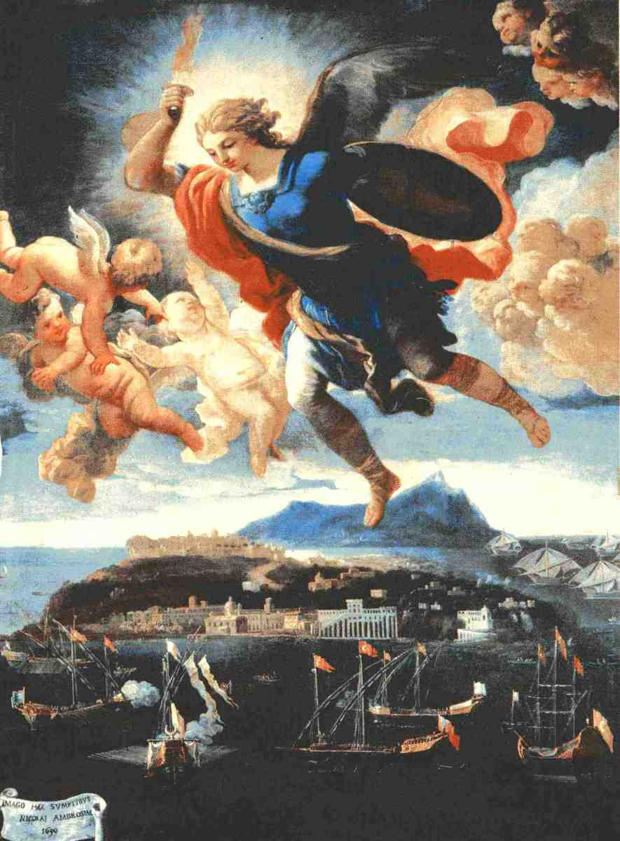 Painting of Archangel Michael - Title of painting (1690):  apparizione di san Michele