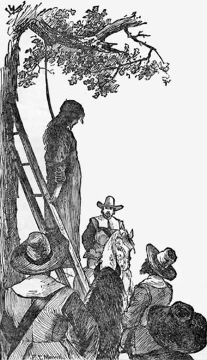 It was common for an accused witch to be hung to death.