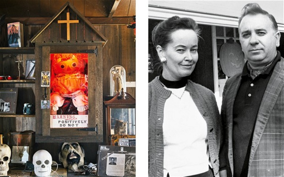 Annabelle in her glass case at the Occult Museum in the basement of Lorraine Warren's house (left); Lorraine with her husband Ed in the 1970s (right).