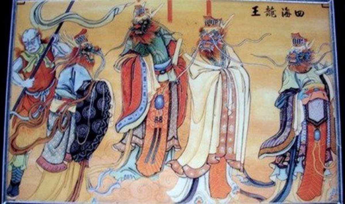 Four dragon kings: Ao Ch'in, Ao Jun, Ao Kuang and Ao Shun.