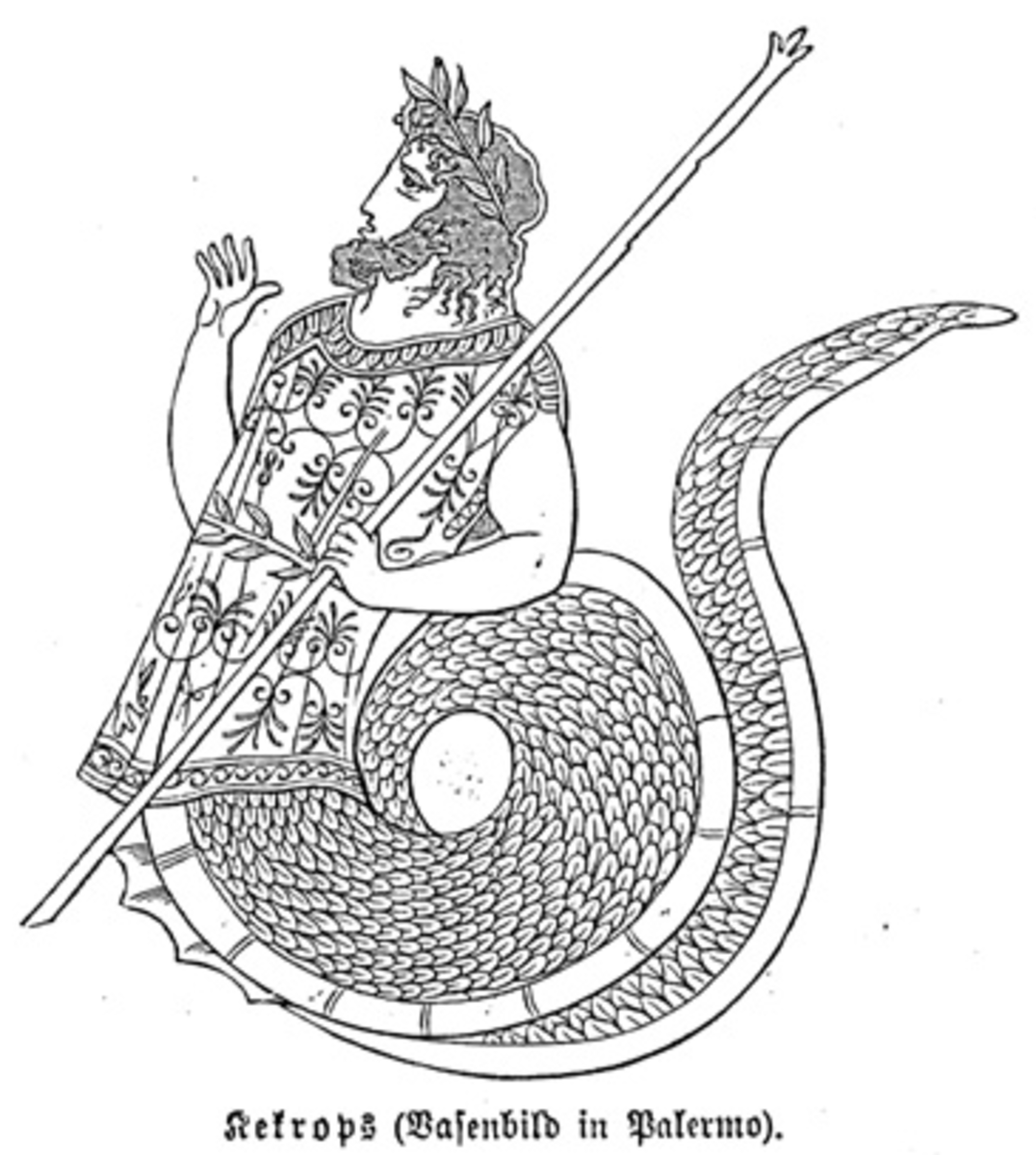 Cecrops I is an example of a Greek reptilian god.