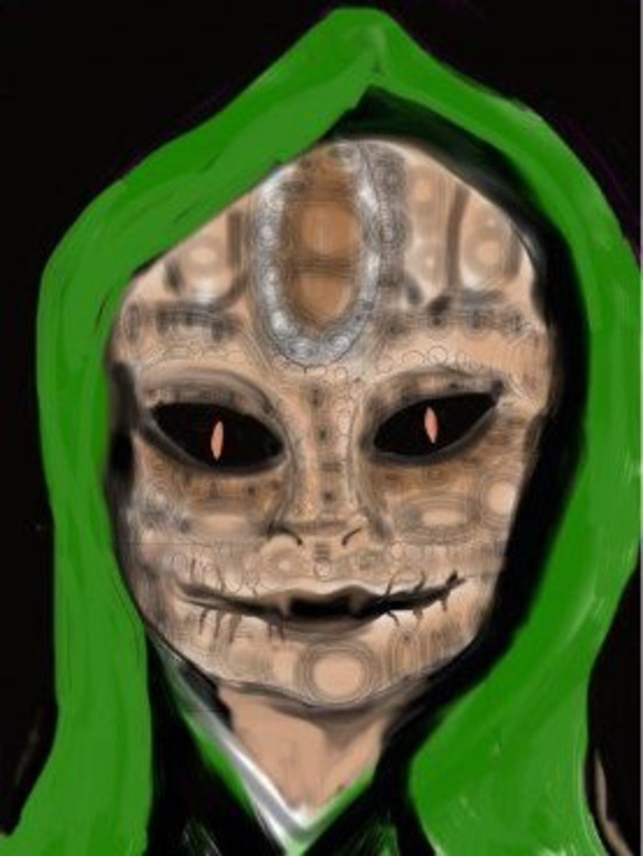 An artist's rendition of a reptilian alien.