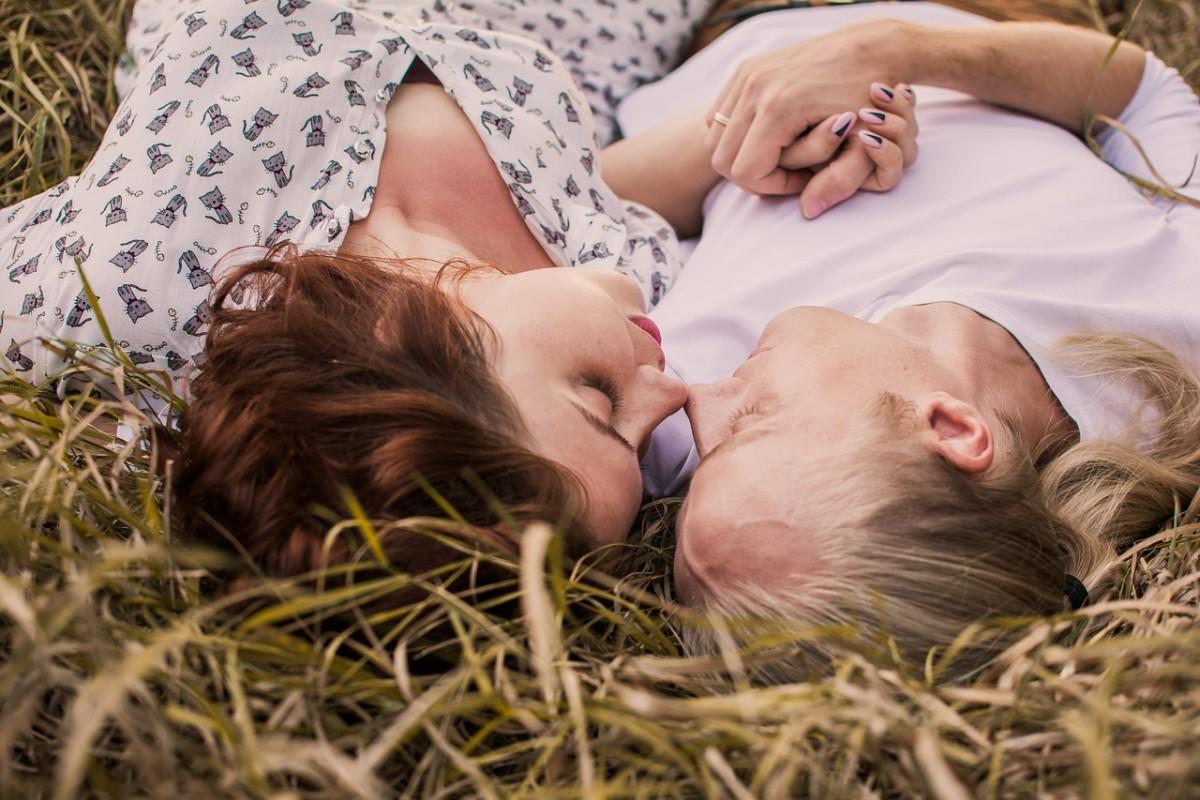 Lovers enjoying nature.