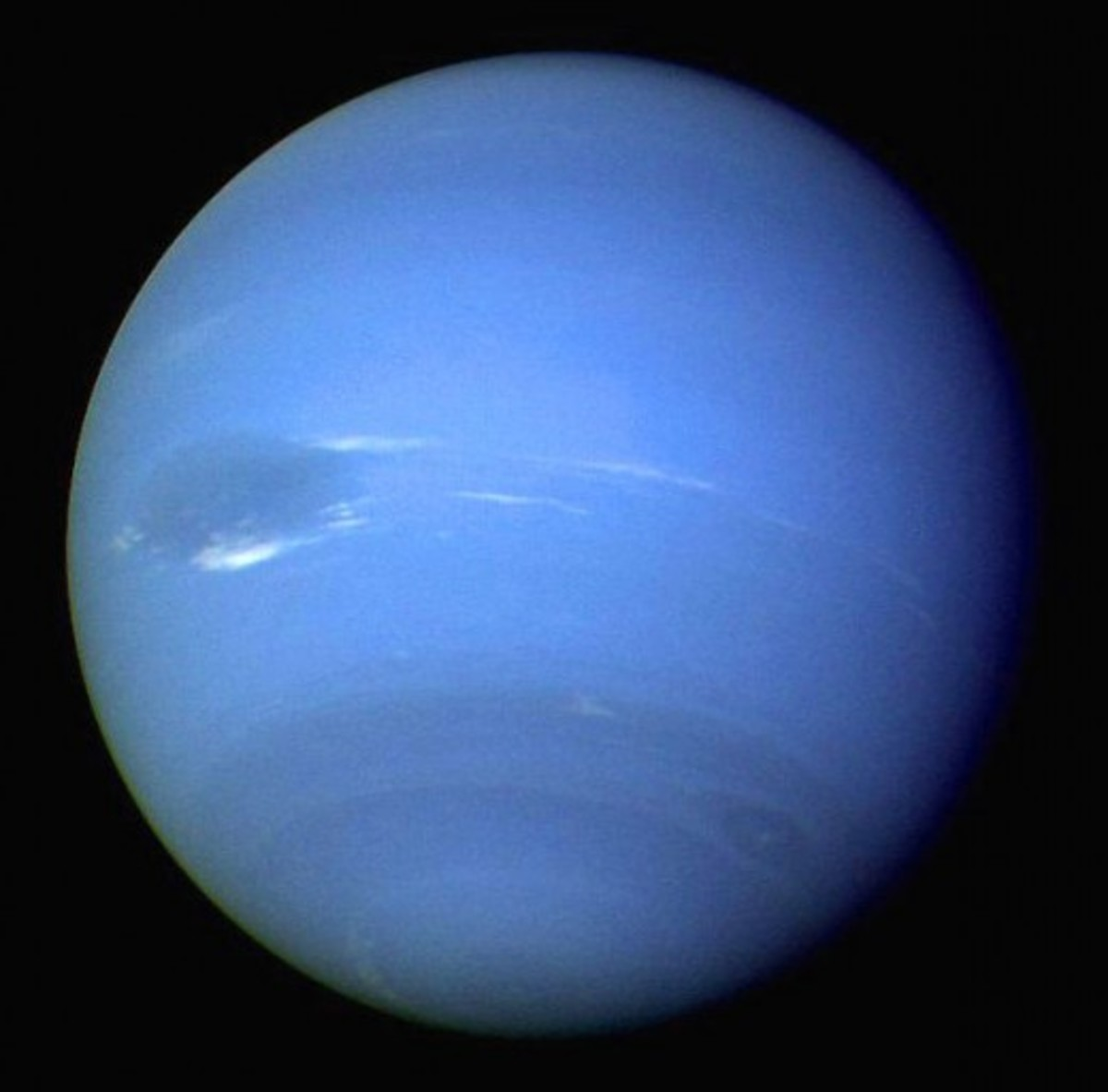 The planet Neptune, named after the god of the seas due to its blue color.