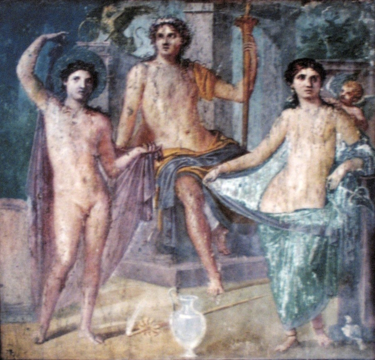 Aphrodite/Venus, goddess of love and beauty, with Ares/Mars, god of war. Sitting enthroned in the middle is Zeus/Jupiter, king of the gods.