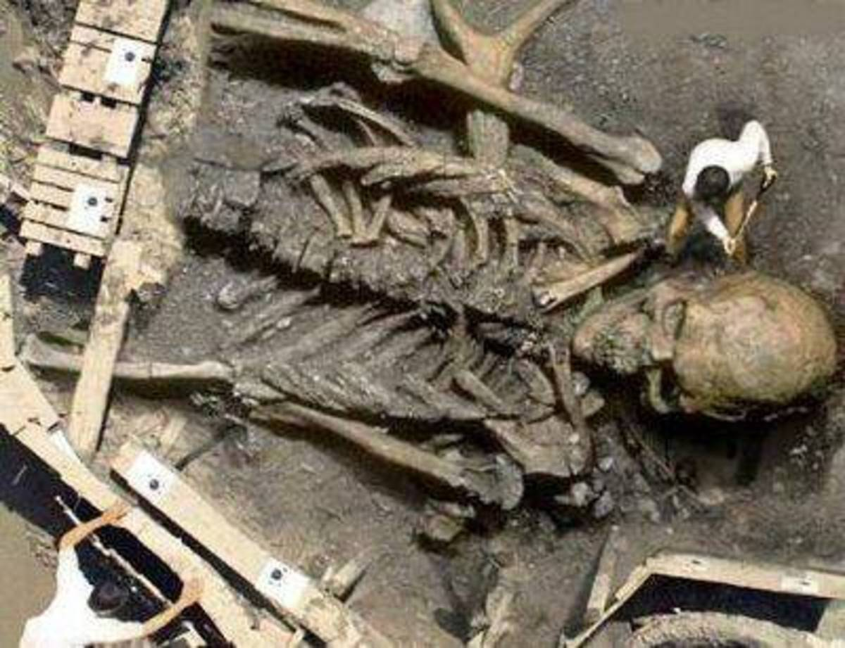 Skeleton hoax: This bizarre image first showed up in October 2002 as an entry in a Photoshop contest run by the website Worth1000.com. It was created from a photo of a Cornell University excavation to make it appear like it was a giant.