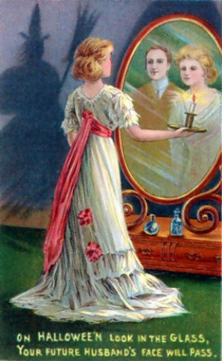 One legend about Bloody Mary is depicted in this Halloween card in which a young girl stares at the face of her future husband in a mirror in a darkened room, while the shadow of Bloody Mary lurks behind her.