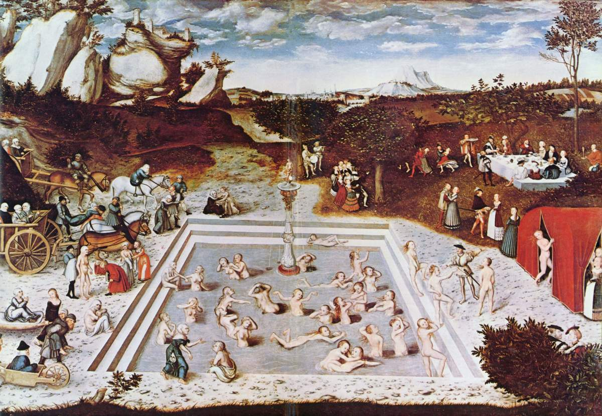 The Fountain of Youth was painted by Lucas Cranach the Elder in 1546 and depicts the legendary and miraculous fountain.