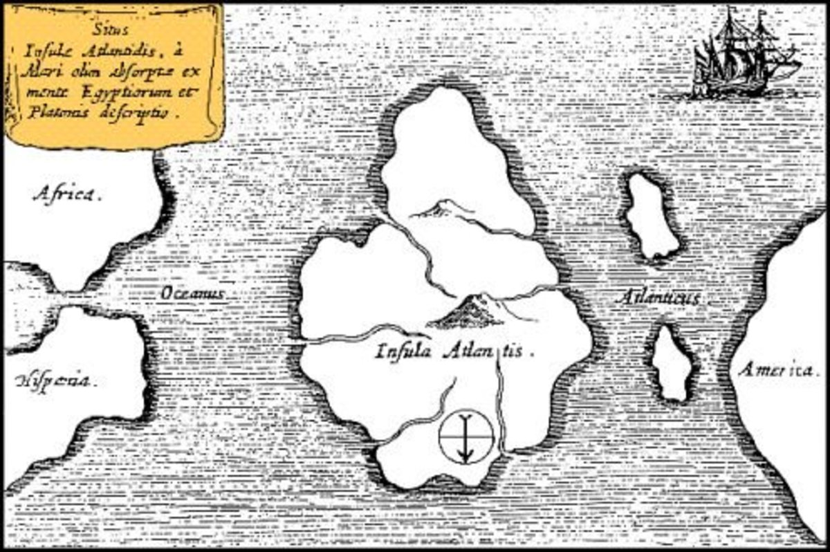 This is a map of Atlantis by Athanasius Kircher, created in 1665.