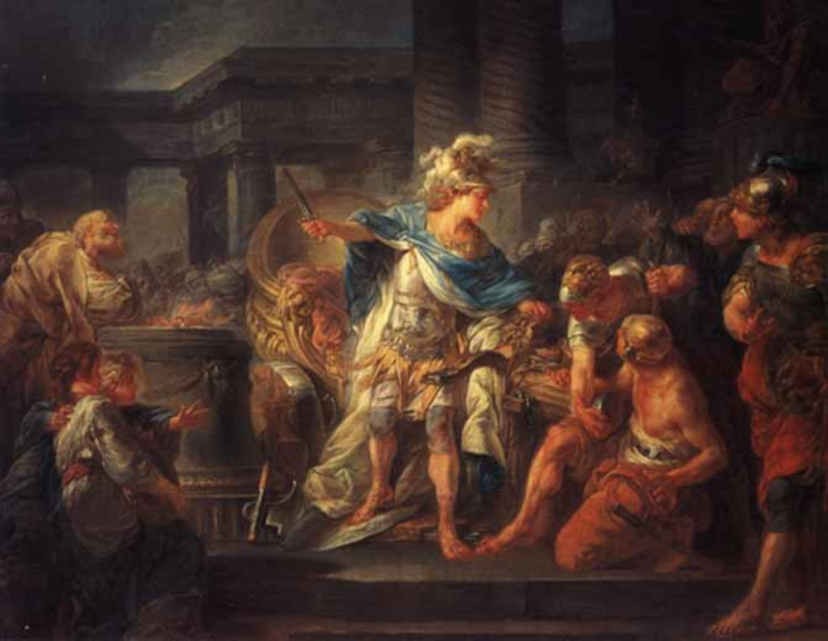 Alexander the Great cutting the Gordian Knot.
