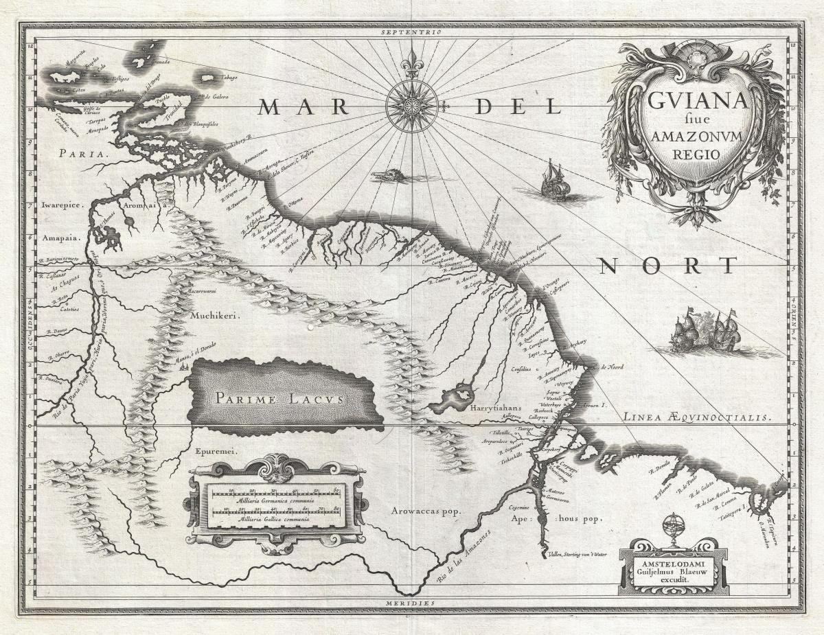 This 1636 map shows the location of Lake Parime, the mythical lake referenced in the legend of El Dorado.